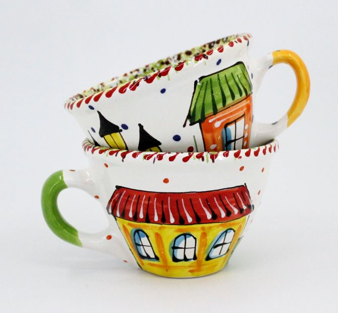 Handmade and hand painted ceramic cup (10)