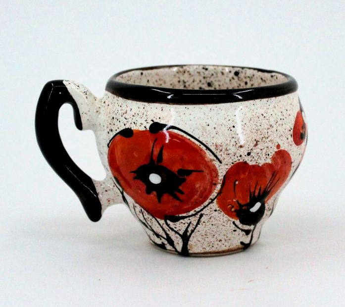 Hand-painted unique clay cup (79)
