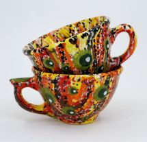 Colorful ceramic tea cup with abstraction pattern