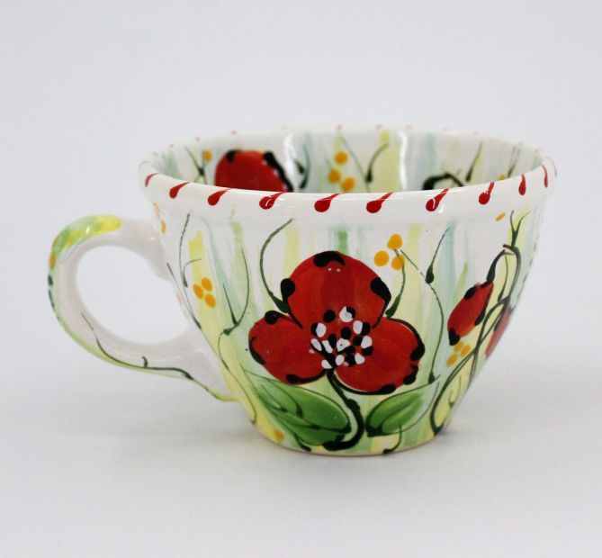 Handmade and hand painted ceramic cup (12)
