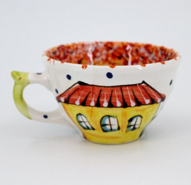 Hand-painted unique clay cup (03)