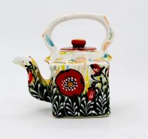 Small ceramic teapot painted with poppies