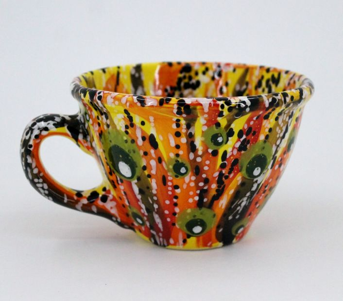 Handmade and hand painted ceramic cup (35)