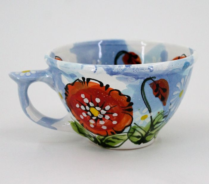 Handmade and hand painted ceramic cup (42)