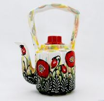 Original ceramic teapot painted with poppies