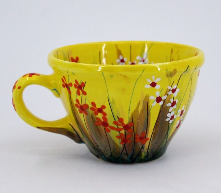 Handmade and hand painted ceramic cup (51)