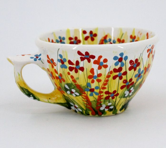 Hand-painted unique clay cup (55)