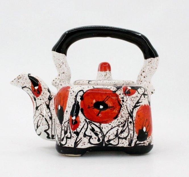 Small hand painted teapot - poppies on the snow