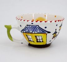 Hand-painted unique clay cup (07)
