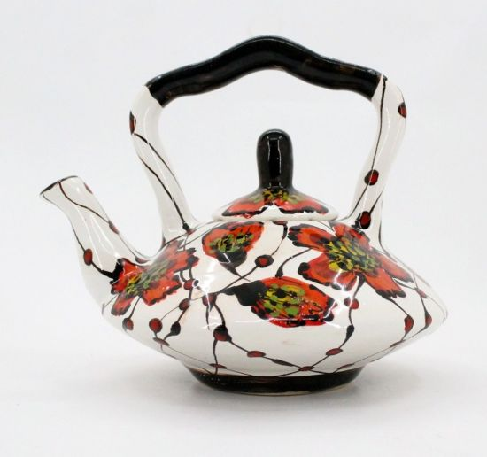 Extravagant teapot with poppies