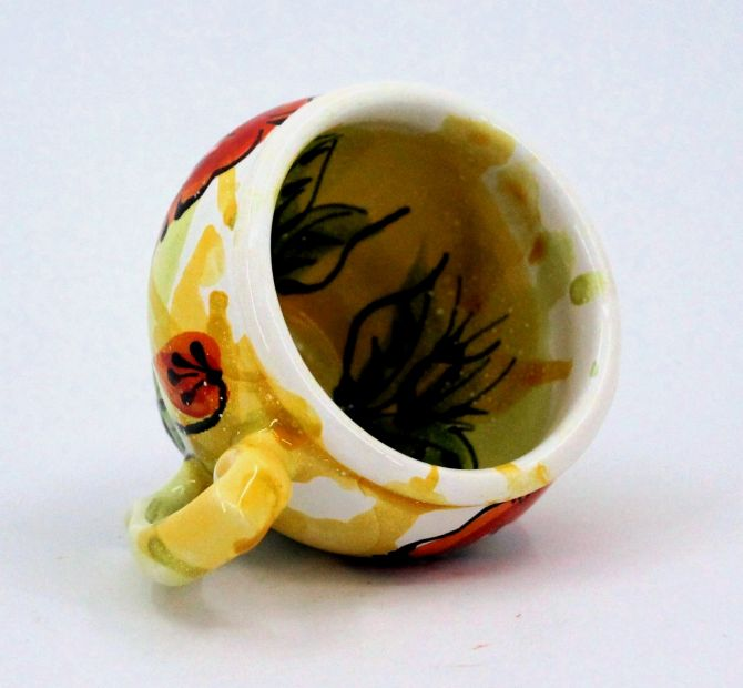 Handmade and hand painted ceramic cup (69)