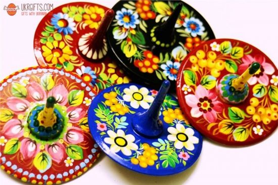 Handmade spinning top, traditional wooden toy with flowers patterns, hand painted