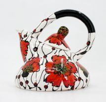 Extravagant ceramic teapot with poppies