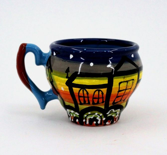 Hand-painted unique clay cup (70)