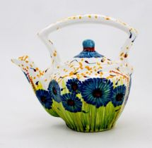 Hand painted teapot with cornflowers