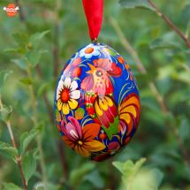 Wooden Easter egg  with the rooster, Ukrainian eggs collection