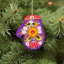 Lila Fäustling-Holzanhänger für dem Weihnachtsbaum kunstvoll bemalt