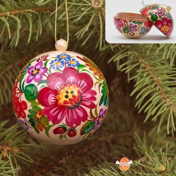 Ethnic ukrainian Christmas tree ball and box for present, hand painted  (12)