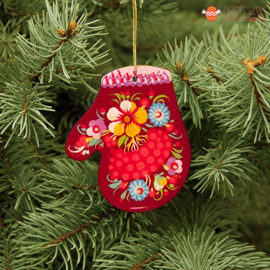 Wooden Christmas Mitten Ornaments (05), hand painted in Ukraine, Petrykivka Painting