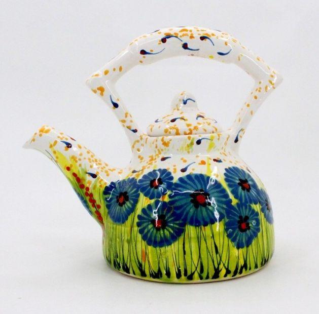 Originelle Teekanne aus Keramik mit Kornblumen