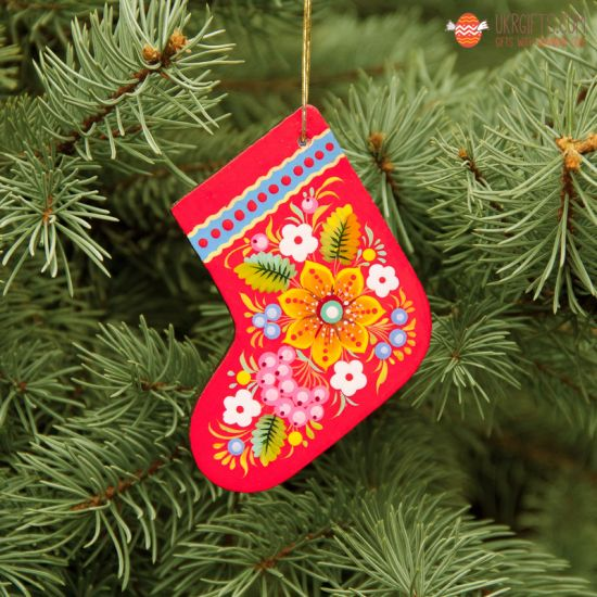 Wooden Christmas stockings Ornaments (01), hand painted in Ukraine, Petrykivka Painting