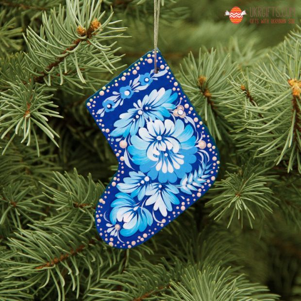 Wooden Christmas stockings Ornaments (02), hand painted in Ukraine, Petrykivka Painting
