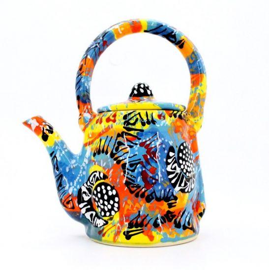 Handbemalte keramik Kaffeekanne - Abstraction