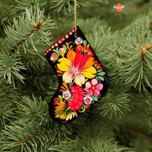Wooden Christmas stockings Ornaments (03), hand painted in Ukraine, Petrykivka Painting