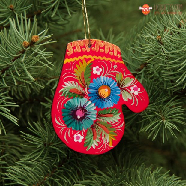 Wooden Christmas Mitten Ornaments (06), hand painted in Ukraine, Petrykivka Painting