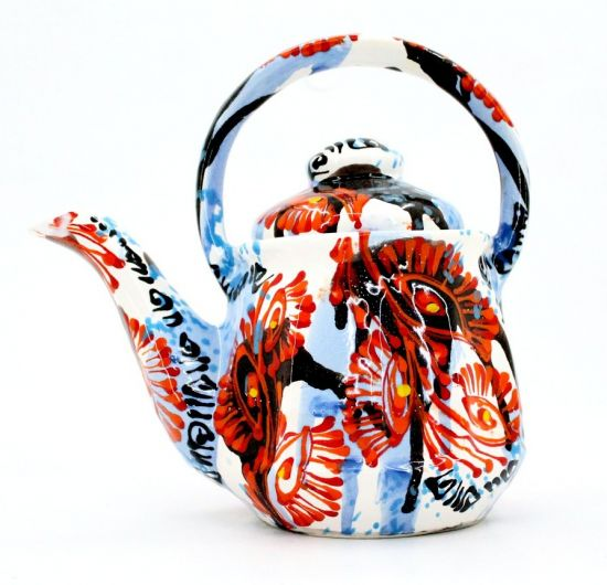 Abstract hand painted ceramic teapot
