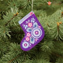 Wooden Christmas stockings Ornaments (04), hand painted in Ukraine, Petrykivka Painting