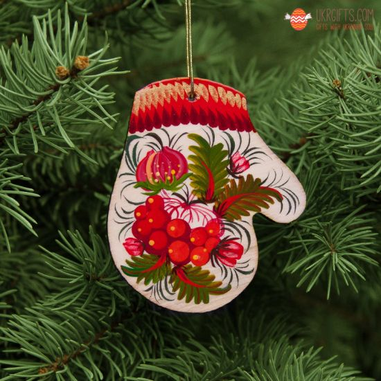 Wooden Christmas Mitten Ornaments (07), hand painted in Ukraine, Petrykivka Painting