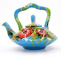 Originelle runde Teekanne aus Keramik, handbemalt