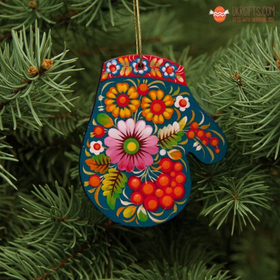 Wooden Christmas Mitten Ornaments (09), hand painted in Ukraine, Petrykivka Painting