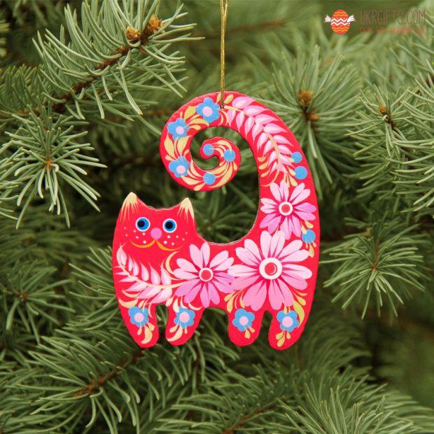 Cat wooden Christmas ornament,  gift idea for Cat lovers, ukrainian art