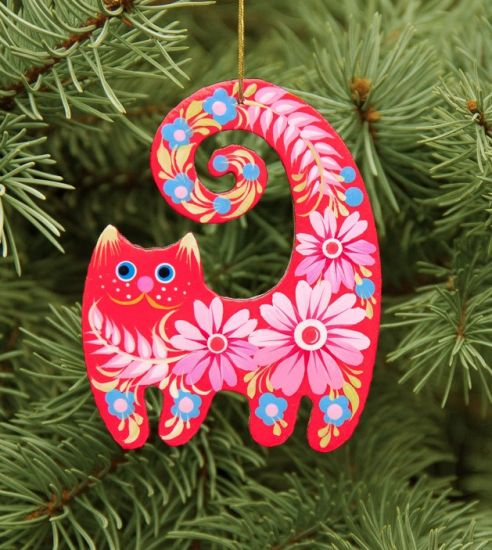 Cat wooden Christmas ornament,  gift idea for cat lovers