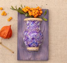 Schöne Wanddeko für die Küche aus Holz, Vase für trockenen Blumen, Handarbeit