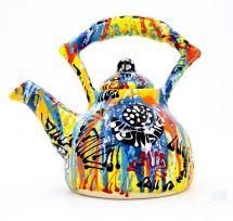 Bunte handbemalte keramik Kaffeekanne