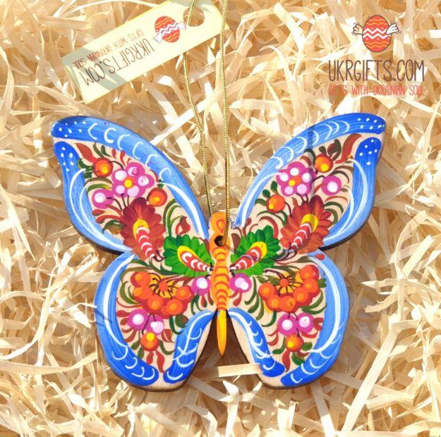 Butterfly ornament, handpainted in Ukraine