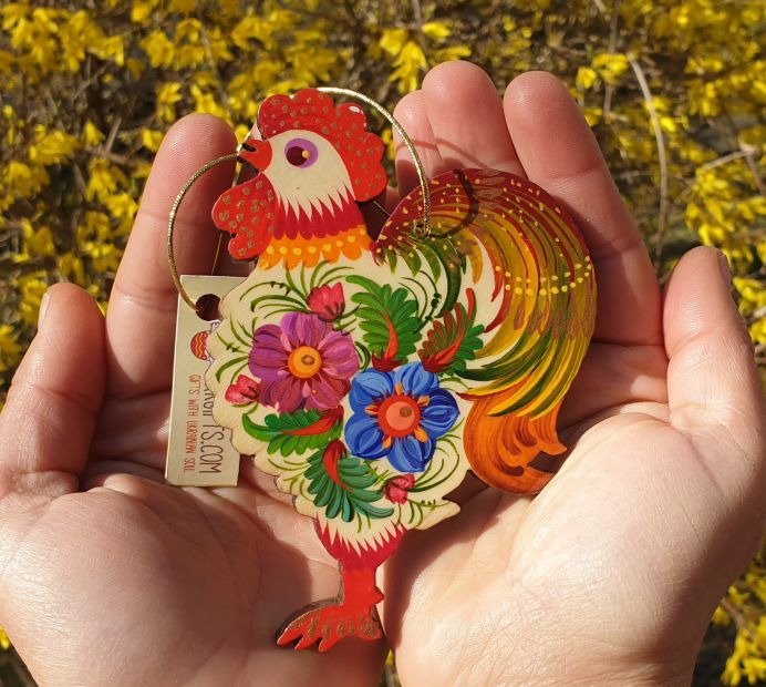 Easter ornament, rooster, handpainted