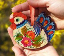 Chicken, handpainted ornament , 02