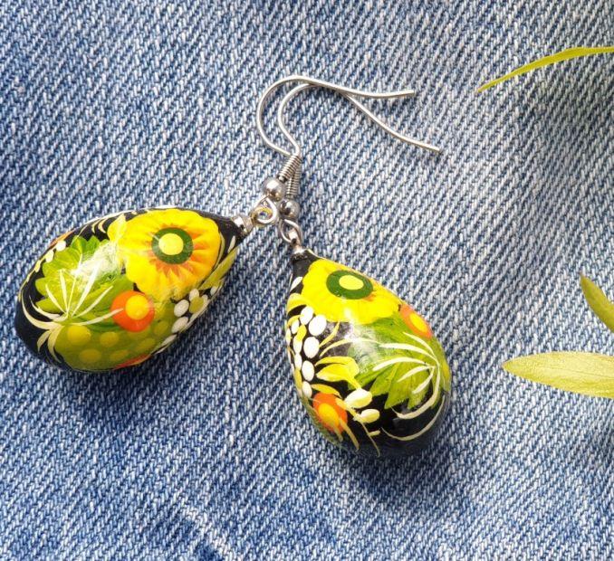 Folk style earrings Drop in green, hand painted, Ukrainian original style