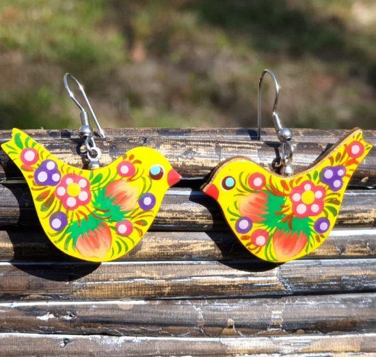 Ohrringe-Vögel aus Holz, handbemalt