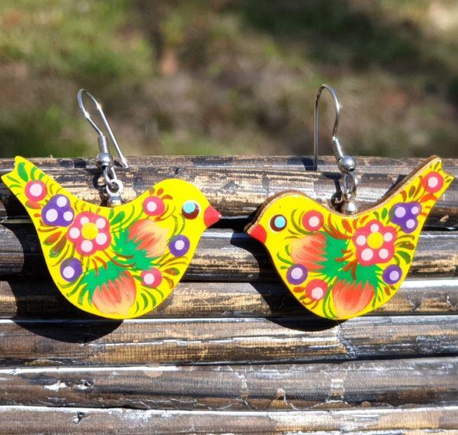 Wooden Bird earrings, hand painted in Ukrainian style