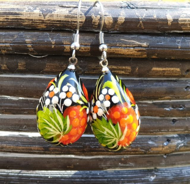 Folk-style hand painted earrings,  wooden, Ukrainian original style