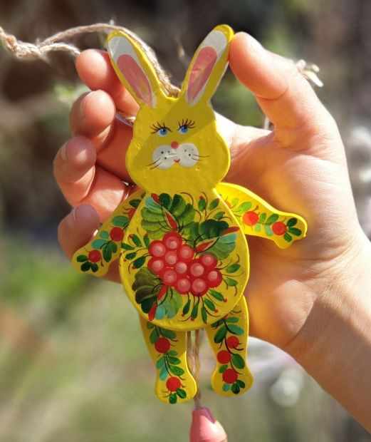 Rabbit wooden jumping jack toy, wall decoration for children room, handmade