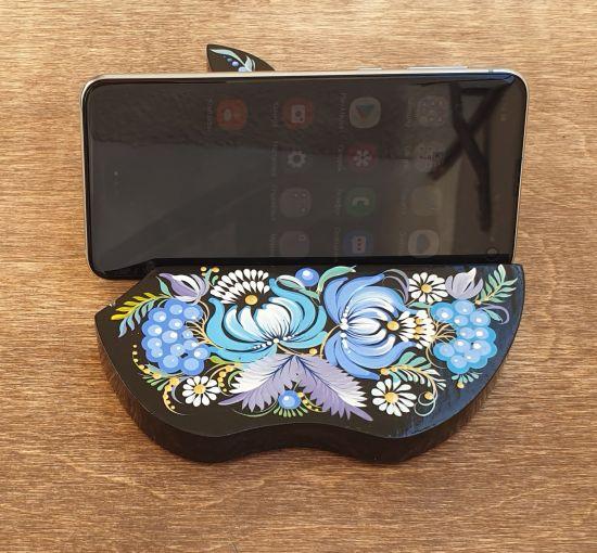 Holz Handy und Tablet Halter, Handgefertigt, schöne Deko für den Schreibtisch