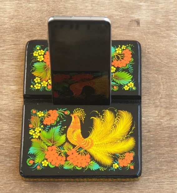 Exclusive wooden stand for phone and tablet, beautiful desktop decor, hand painted