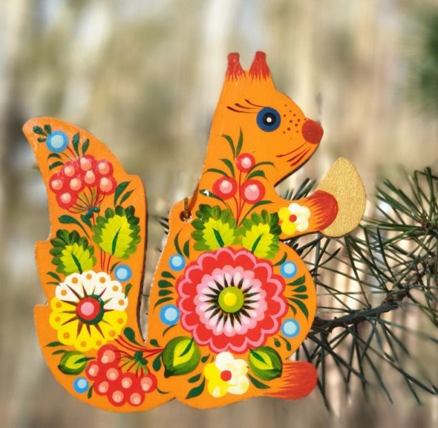 "Traditional Christmas tree ornament ""Squirrel"", hand painted"