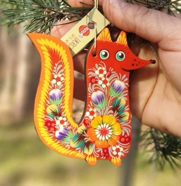 Fox ornament for Christmas tree or for home decor, wooden, hand painted on both sides